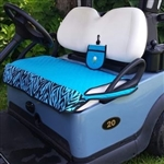 GolfChicBag Quilted Golf Cart Seat Cover Turquoise/Zebra