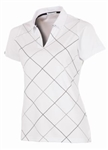 AUR Women's Bias Print Golf Polo - White