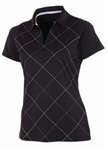 AUR Women's Bias Print Golf Polo - Black