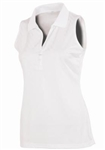 AUR Women's Zig Zag Stitch Sleeveless Golf Polo White
