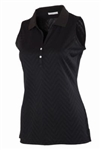 AUR Women's Zig Zag Stitch Sleeveless Golf Polo Black