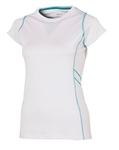 AUR Women's Stretch Cap Sleeve Crew Neck White/Malibu