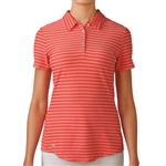 Adidas Golf Cotton Hand Stripe Polo - Sunset Coral Heather