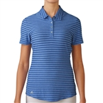 Adidas Golf Cotton Hand Stripe Polo-Baja Blue Heather