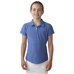Adidas Girls Essential Cotton Hand Stripe Golf Polo - Baja Blue