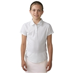 Adidas Girls Essential Cotton Hand Stripe Golf Polo - White