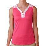 Adidas Golf Mesh Printed Sleeveless Top - Raspberry Rose