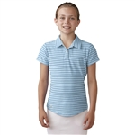 Adidas Girls Essential Cotton Hand Stripe Golf Polo - Soft Blue