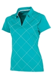 AUR Women's Bias Print Golf Polo - Malibu