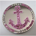 Abigale Lynn Ball Marker with Hat Clip Pink Anchor