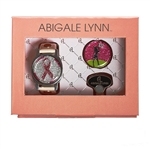 Abigale Lynn Pink Ribbon & Golf Dancer Ballmarker Bracelet Gift Set