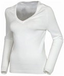 AUR Ladies Classic V-Neck Golf Sweater White