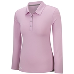 Adidas Essentials 3-Stripes Long Sleeve Polo - Light Orchid