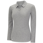 Adidas Climalite Essentials Long Sleeve Polo- Medium Grey Heathe