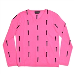Baker Golf V-Neck Silk & Cashmere Sweater - Bright Pink/Navy