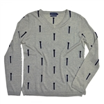 Baker Golf V-Neck Silk & Cashmere Sweater - Silver/Navy