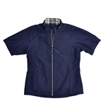Baker Golf Midi Short Sleeve Windbreaker - Navy/Grey Plaid