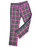 Baker Golf Plaid Tuxedo Stripe Cropped Golf Pant (Pink Plaid)