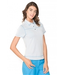 Chase54 Ladies Milan Short Sleeve Polo - Pearl/French Blue