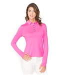 Chase54 Ladies Maggie Long Sleeve Polo - Super Pink