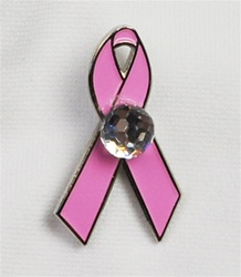 Pink Ribbon Pin with Swarovski Golf Ball