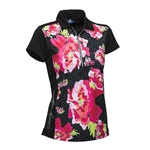 Daily Sports Candice Cap Sleeve Polo Black Floral