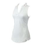 Ella Belle Perfect Sleeveless Polo - White