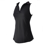 Ella Belle Perfect Sleeveless Polo - Black