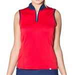 GG Blue Juno Sleeveless Golf Top Red/Inspiration Print
