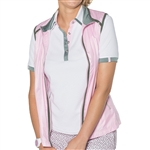 GG Blue Cori Short Sleeve Ladies Golf Polo - Cloud/Fern
