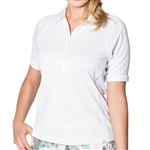 GG Blue Kalea Short Sleeve Ladies Golf Polo - Cloud