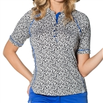 GG Blue Kalea Short Sleeve Ladies Golf Polo - Leopard