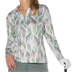 GG Blue Eva Long Sleeve Golf Polo Grace Print