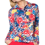 GG Blue Eva Long Sleeve Golf Polo Inspiration Print