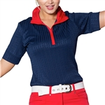GG Blue Emery Half Sleeve Golf Polo Liberty Cable