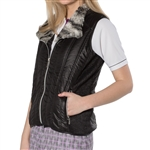 GG Blue Toni Golf Vest - Black with Fur Collar