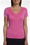 Golftini Embroidered V-Neck Tee Hot Pink