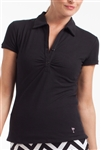 Golftini Short Sleeve Button Polo Black