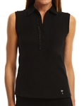 Golftini Sleeveless Ruffle Polo Black
