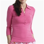 Golftini 3/4 Sleeve Ladies Polo Sweater Hot Pink