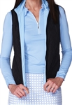 Golftini Quilted Reversible Wind Vest - Black/Light Blue