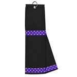 Just4Golf Golf Towel - Purple/White Polka Dots