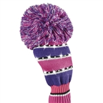 Just4Golf Driver Headcover Sparkle Purple/Pink Wide Stripe