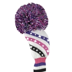 Just4Golf Fairway Headcover Sparkle Diagonal Stripe Purple/Pink