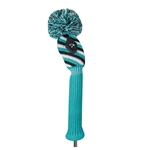 Just4Golf Hybrid Headcover VDiagonal Stripe Turquoise/Black