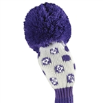 Just4Golf Hybrid Headcover Sparkle White/Purple Small Dot