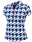 JoFit Vented Short Sleeve Polo – Blue Houndstooth
