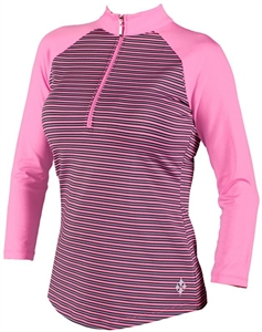 Jofit 3/4 Sleeve Raglan Mock Pink Heathered Stripe