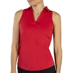 JoFit Cut Away Sleeveless Johnny Collar Polo – Lipstick