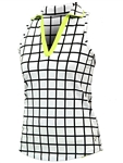 JoFit Tech Cut Away Sleeveless Polo - Windowpane